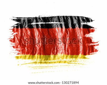 Germany. German flag  painted with watercolor on wet white paper - stock photo