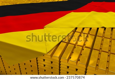 Germany gold reserve stock: golden bars (ingots) are covered with german flag in the storage (treasury) as symbol of national gold and foreign currency reserves, financial health, economic growth - stock photo
