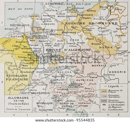 Germany in 1795 old map (Peace of Basel). By Paul Vidal de Lablache, Atlas Classique, Librerie Colin, Paris, 1894 - stock photo