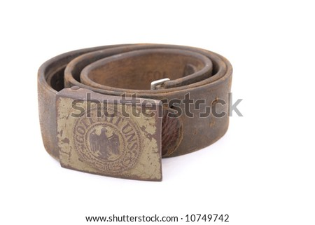 """Germany in the Second World War. German standard soldier belt (Whermacht). Buckle with imperial eagle and inscription """"God with us"""" - stock photo"""