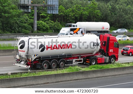 GERMANY-JUNE 02:oil/chemical truck of HAMM on the highway on June 02,2016 in Germany.
