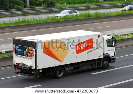 GERMANY-JUNE 02:truck of TEGUT on the highway on June 02,2016 in Germany.