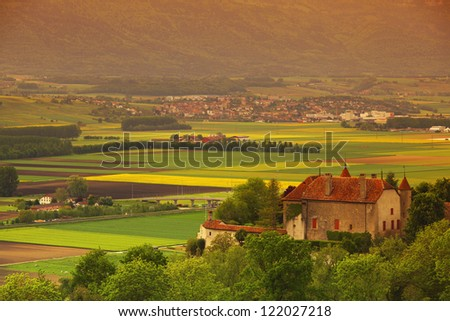 germany lanscape castle and fields - stock photo
