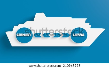 germany latvia ferry boat route info in icons - stock photo