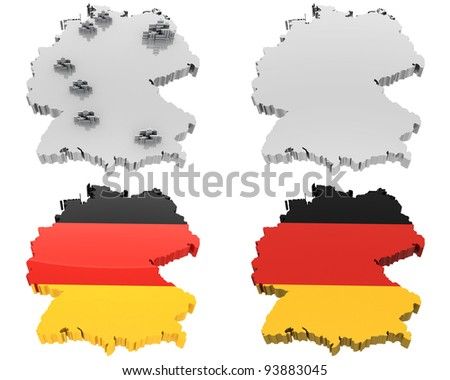 Germany map and flag (done in 3d)