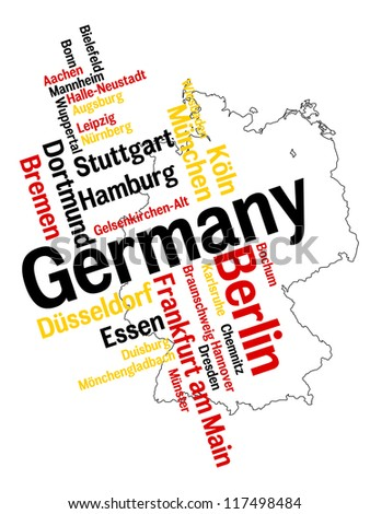 Germany map and words cloud with larger cities; vector version is also available - stock photo