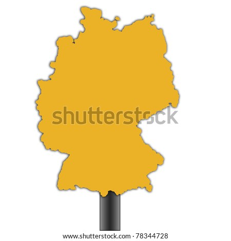 Germany map road sign isolated on a white background.