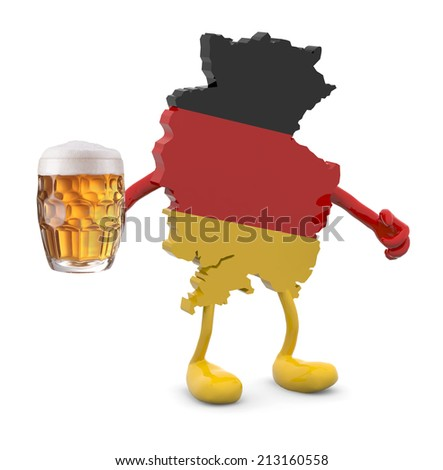 germany map with arms, legs and glass mug of beer on hand, 3d illustration - stock photo