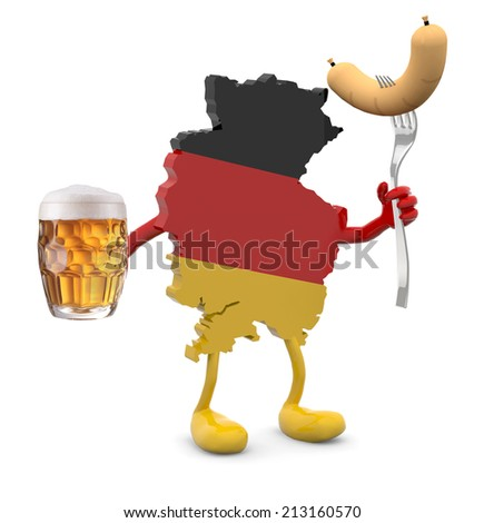 germany map with arms, legs, glass mug of beer and wurstel on hands, 3d illustration - stock photo