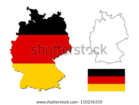 germany map with german flag - stock photo