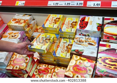 GERMANY - MARCH 2, 2016: Various frozen Pastry packings in a freezer of a Kaufland Hypermarket.
