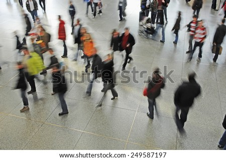 Germany, Munich, Passengers at railway station