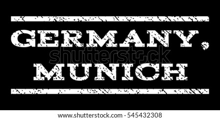 Germany, Munich watermark stamp. Text tag between horizontal parallel lines with grunge design style. Rubber seal stamp with scratched texture. Glyph white color ink imprint on a black background.