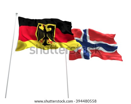 Germany & Norway Flags are waving on the isolated white background - stock photo