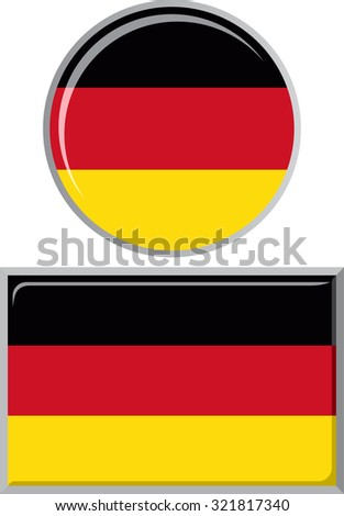 Germany round and square icon flag. Raster version.