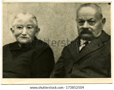 GERMANY - 1920s: An antique photo shows studio portrait of an elderly couple