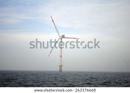 Germany Schleswig Holstein - July 13, 2014: Wind energy company repower is building a wind farm in Schleswig Holstein - North Sea