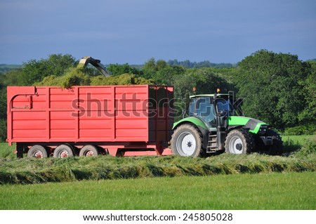 Germany - Schleswig Holstein - October 10, 2014: grass harvest Agricultural - stock photo