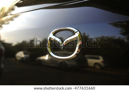 GERMANY-SEPTEMBER 02:MAZDA logo on September 02,2016 in Germany.Mazda Motor Corporation is a Japanese automaker.