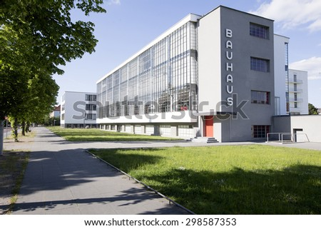 GERMANY - The Bauhaus school building in Dessau on May 25, 2015. The building is in the Unesco World Heritage List.