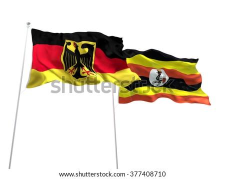 Germany & Uganda Flags are waving on the isolated white background - stock photo