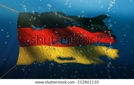 Germany Under Water Sea Flag National Torn Bubble 3D - stock photo