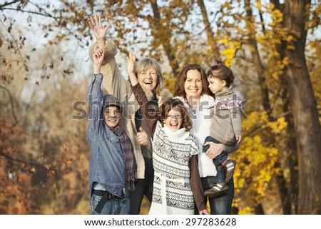 Germany,Upper Bavaria,Family having fun,smiling - stock photo
