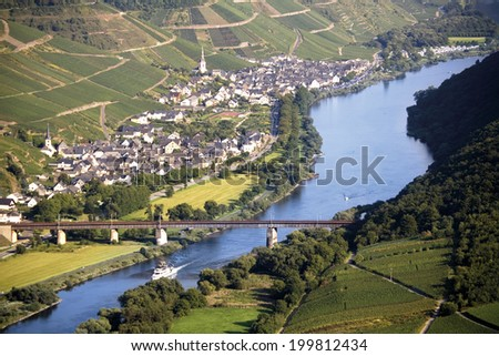 Germany, view to Bremm by Mosel river - stock photo