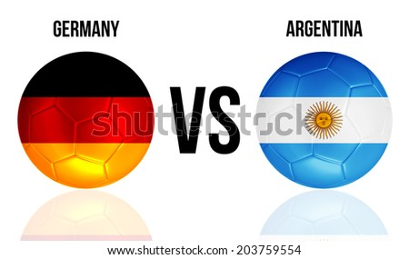 Germany VS Argentina soccer ball concept isolated on white background with reflections - stock photo