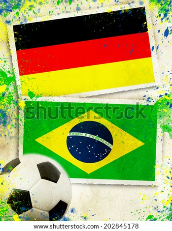 Germany vs Brazil soccer ball concept - semifinals                           - stock photo