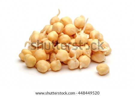 Germinated chickpeas isolated on a white background