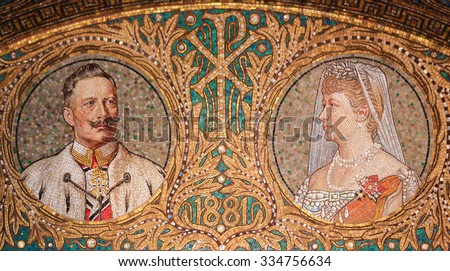 GEROLSTEIN, GERMANY - OCTOBER 10, 2015: Mosaic of Kaiser Wilhelm II, the last German Emperor and King of Prussia from 1888 to 1918, and his wife Augusta Victoria of Schleswig-Holstein. - stock photo