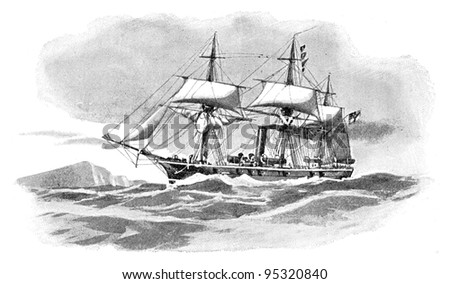 Gerrman steam corvette (Augusta) / vintage illustration from Meyers Konversations-Lexikon 1897 - stock photo
