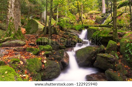 Gertelsbacher Waterfalls in autumn, Black Forest, Germany - stock photo