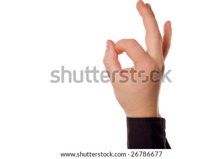 gesture by hand isolated on white background(clipping path included)