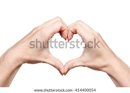 Gesture by two female hands heart isolated on white background