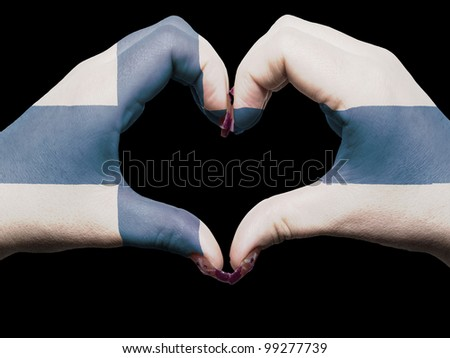 Gesture made by finland flag colored hands showing symbol of heart and love