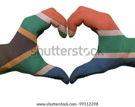 Gesture made by south africa flag colored hands showing symbol of heart and love, isolated on white background - stock photo