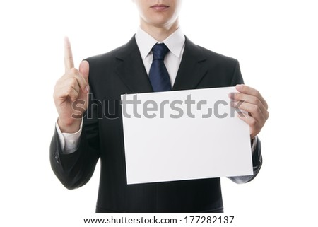 Gesture of businessman, isolated on white background.