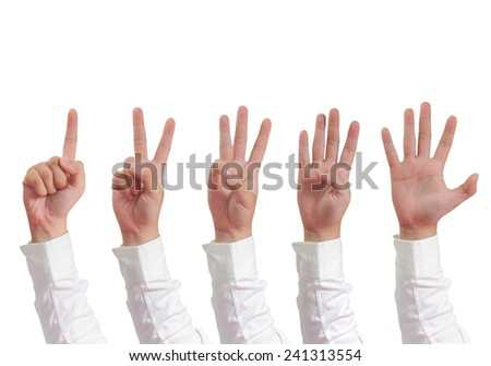 Gesture of hand showing number with fingers of one two thee four and five in formal long sleeved shirt isolated on white - stock photo