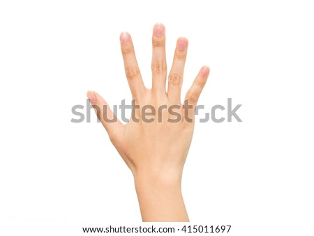 Gesture of woman hand count : five