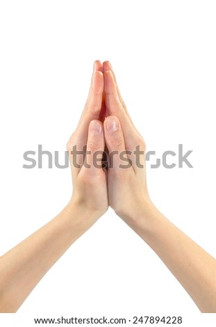 Gesture two hands palms together to pray - stock photo