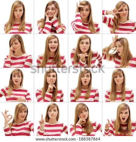 Gestures and emotions. - stock photo