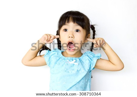 Gestures of a child on a white background .