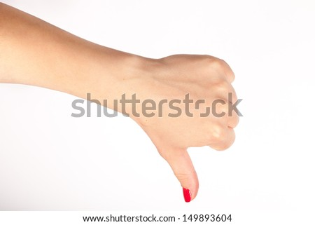 gesturing hand, photo on the white background  - stock photo