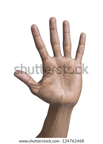 Gesturing hand showing all five fingers over a white background