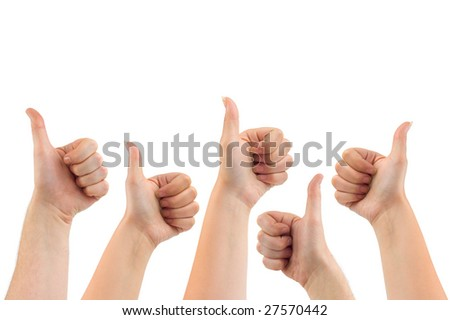 Gesturing hands isolated on white background - stock photo