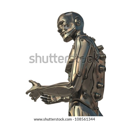 Gesturing metal cyborg. 3d image isolated on white / Asking robotic man