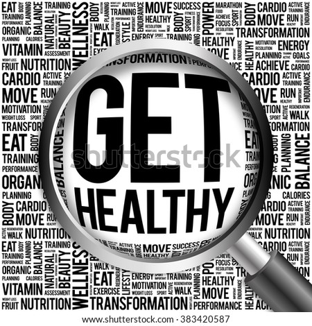 Get Healthy word cloud with magnifying glass, health concept