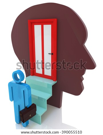 Get inside your mind to create design-related information with the abstraction of thought - stock photo